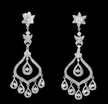 4.5 carat diamonds chandelier earring dangling white gold jewelry earrings