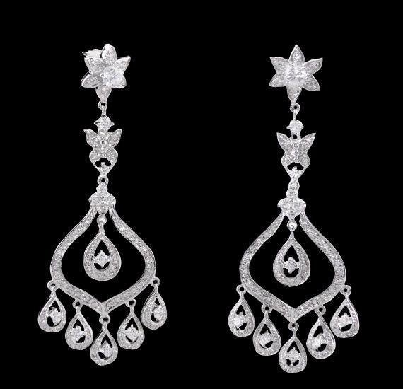 4.5 carat diamonds chandelier earring dangling white gold jewelry earrings