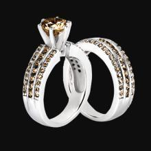 4.5 ct. Champagne brown diamonds engagement ring band set