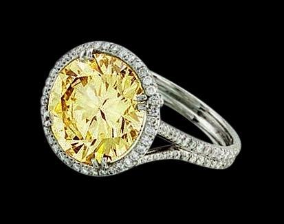 4.5 ct. yellow canary center diamond ring white gold 18K solid