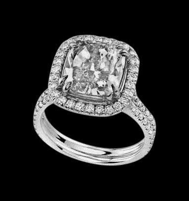 5.01 carat cushion diamond halo engagement ring gold jewelry