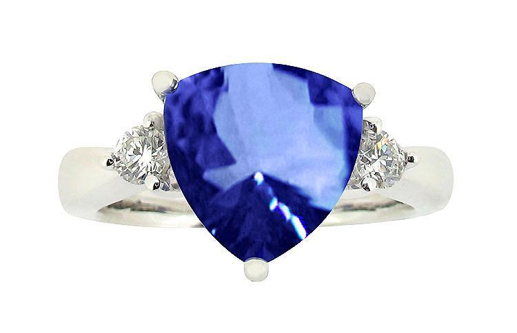 7.01 carat trillion AAA tanzanite diamonds wedding anniversary ring gold