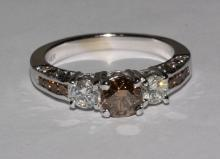Cognac white diamonds 2.5 cts. ring 3 stone jewelry new