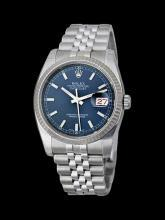 Date just rolex mens watch blue stick dial stainless