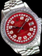 Date just rolex mens watch red diamonds dial bezel