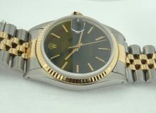 Date just rolex oyester datejust black stick dial watch