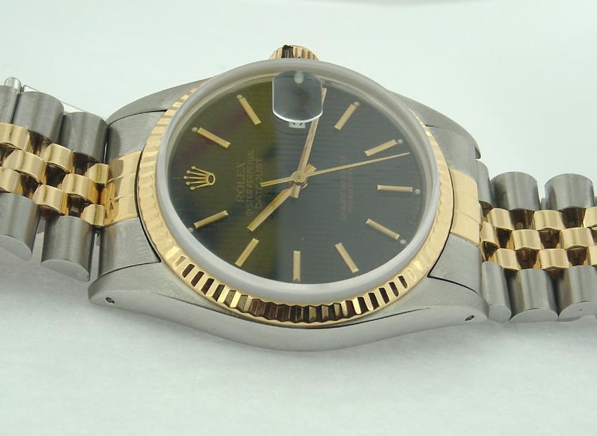 Date just rolex oyester datejust black stick dial watch