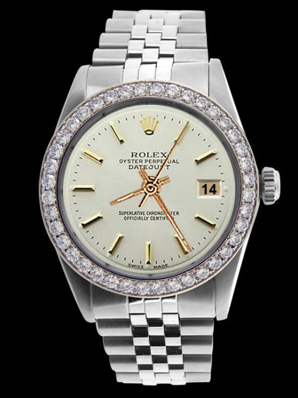 Diamond bezel date just watch gents rolex white stick dial SS jubilee bracelet