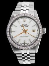 Diamond bezel date just watch gents white stick dial SS jubilee bracelet rolex