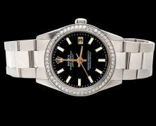 Diamond bezel datejust watch black stick dial SS oyster bracelet rolex