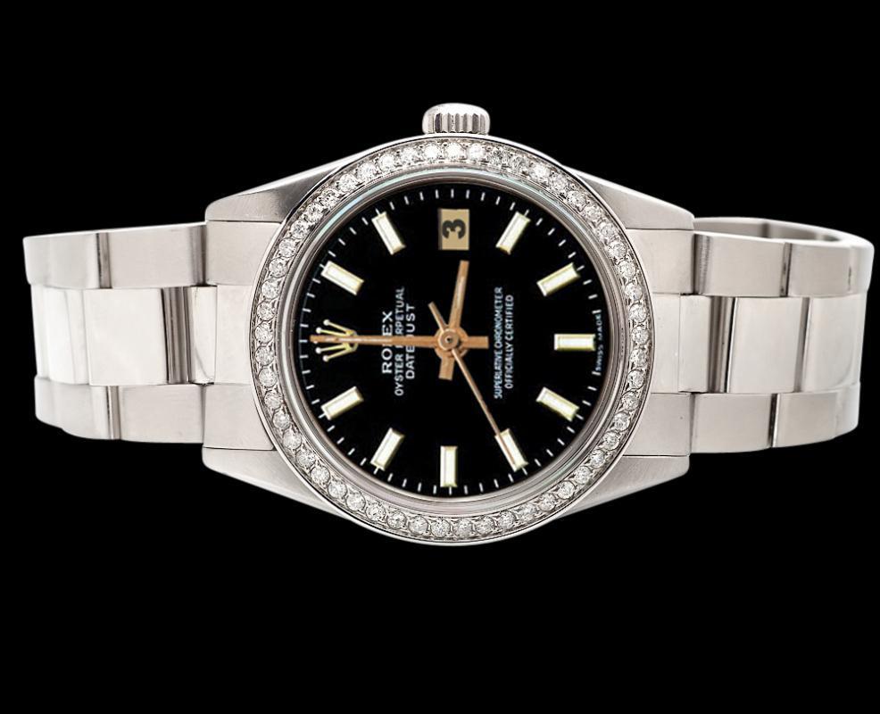 Diamond bezel datejust watch black stick dial SS oyster bracelet rolex