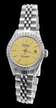Diamond bezel datejust women watch champagne stick dial jubilee SS rolex