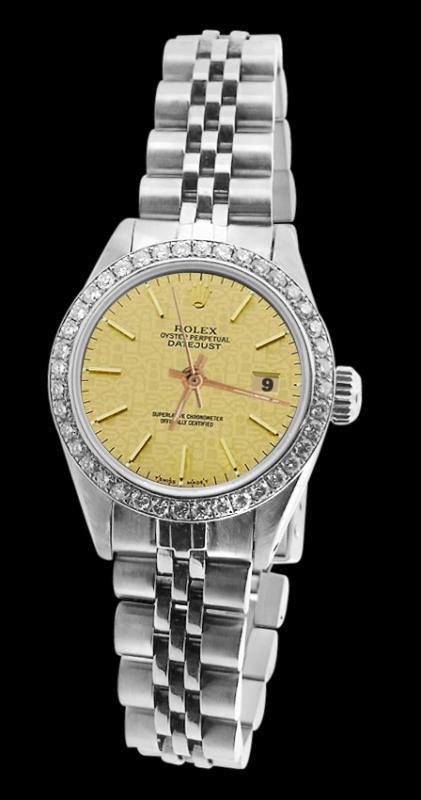 Diamond bezel datejust women watch champagne stick dial jubilee SS rolex