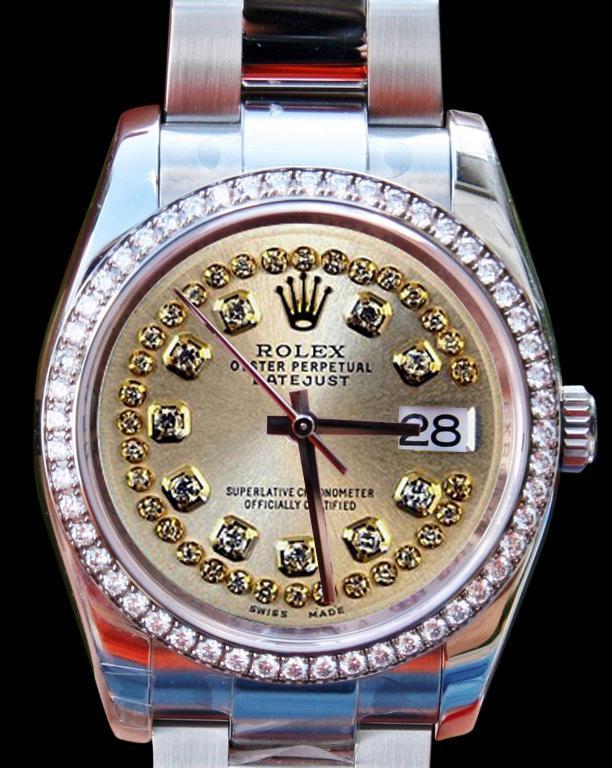 Diamond bezel dial ladies man rolex datejust watch SS string diamond dial
