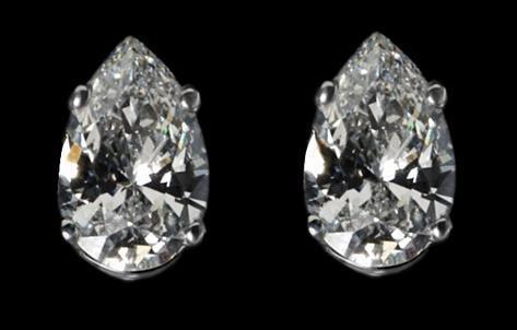 F VS1 diamonds pear cut stud post earrings 2.02 ct.