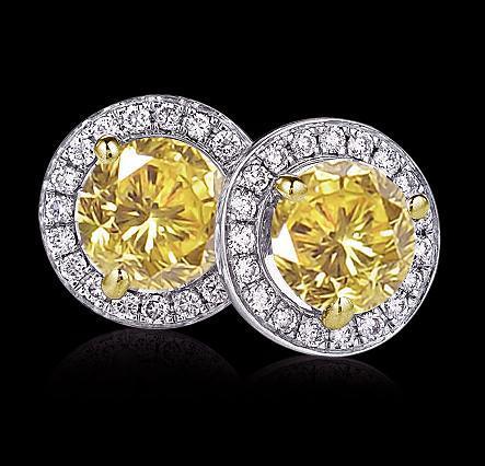 Fancy yellow diamonds 7 cts. Stud earrings gold ear ring