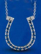 0.23 carat diamonds & Gem-stone necklace pendant white gold 14K