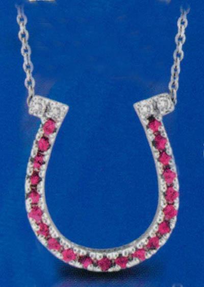 Horse shoe style pendant necklace 0.25 carat diamonds & gemstone