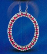 0.25 carat Gemstone Circle pendant necklace solid gold 14K jewelry