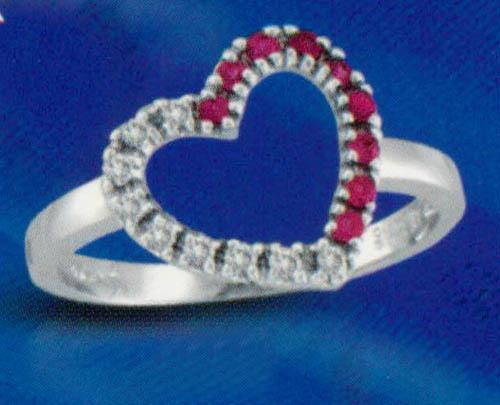 Heart shape 0.27 carat Diamonds & Gemstone wedding ring gold jewelry