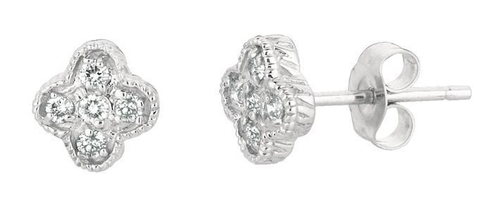 0.15 carat Round diamond pushback stud pair earring white gold 14K