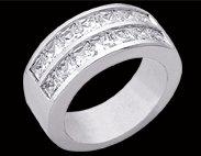 2.52 carat PRINCESS CUT diamond wedding band