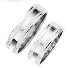 his and hers platinum ring WEDDING BAND SET