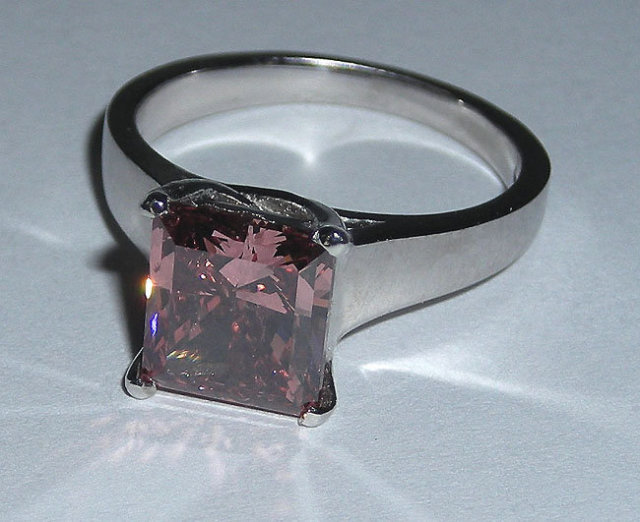 1.51 carats princess red diamond ring engagement new