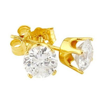 3 carat DIAMOND stud earrings round yellow gold round