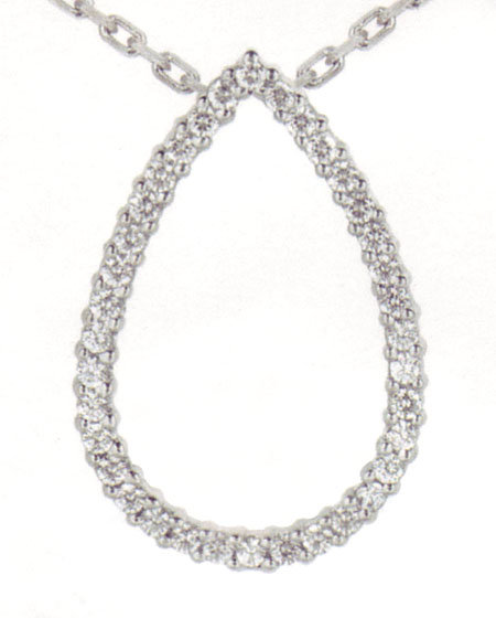 1.82 carats Diamond Pear Pendant with chain necklace sparkling