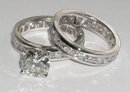 6.01 carats diamond engagement ring and band set