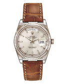 Rolex president watch white gold with leather band mint