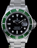 Rolex submariner watch green anniversary model oyster