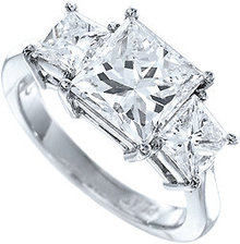 2 carat princess cut 3 stone diamond ring three-stone