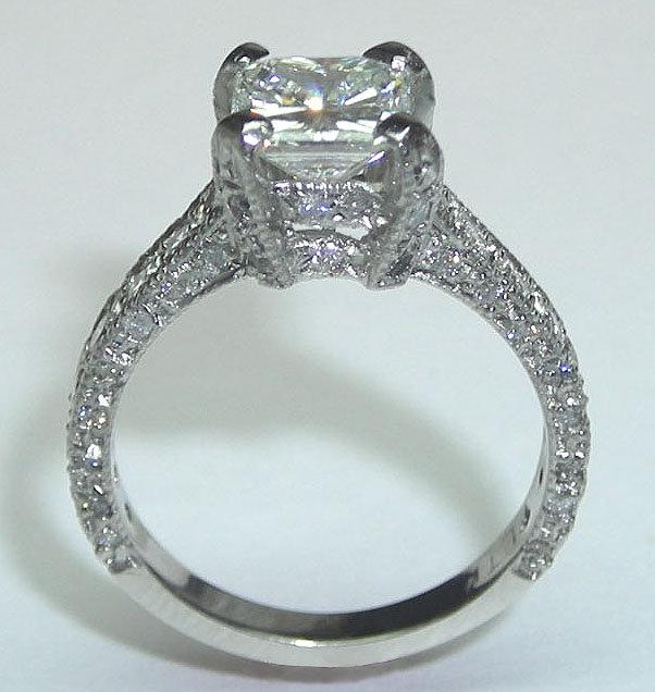 3.01 carats princess cut pave diamond ring PLATINUM new