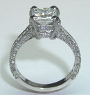 3.01 carats princess cut pave diamond ring PLATINUM new