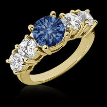 1.06 ct Yellow blue diamonds engagement ring gold new