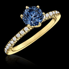 1.01 carat blue diamond engagement ring 14K yellow gold