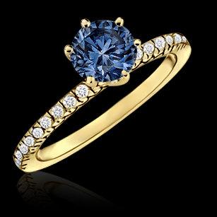 1.01 carat blue diamond engagement ring 14K yellow gold