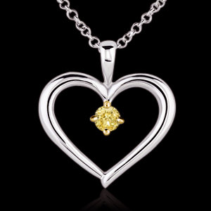 1/2 ct. yellow canary diamond solitaire pendant chain