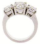 1.12 Ct 3 STONE GENUINE DIAMOND RING engagement gold