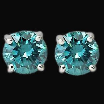 1.20 carats blue diamond stud earring white gold new