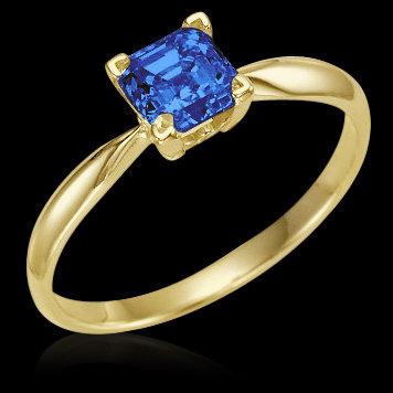 0.50 carat blue princess cut diamond solitaire ring