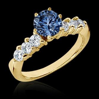 0.98 ct. blue & white diamonds anniversary ring gold