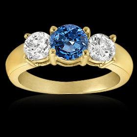 1.01 carat white blue diamonds 3-stone engagement ring