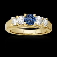 1.01 carat blue diamonds 5-stone anniversary ring new
