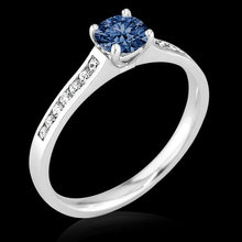 0.75 carat blue diamond engagement ring white gold new