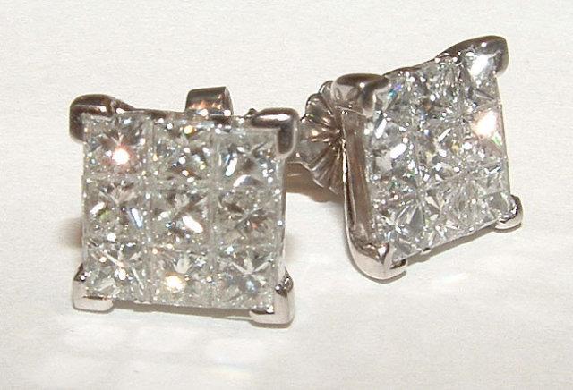 2 carats LARGE diamond studs PRINCESS CUT earrings