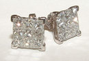 2 carats LARGE diamond studs PRINCESS CUT earrings
