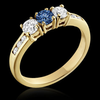 1.0 ct.white blue diamonds three stone ring 14K gold